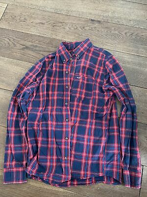 £1 • Buy Mens Hollister Check Shirt Red And Blue Size S