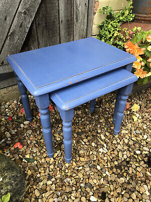£5 • Buy A Nest Of Two Pine Tables Painted Blue