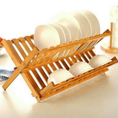 £13.79 • Buy Bamboo Wooden Folding Dish Drainer & Plate Holder For Kitchen Cutlery Rack Stand