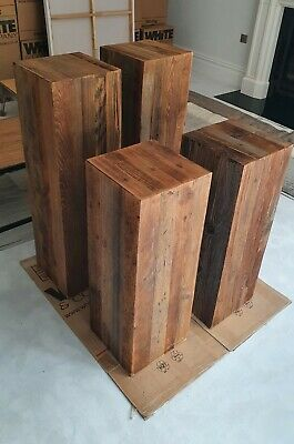 £85 • Buy 4 X Heavy Solid Oak Block Beam Lamp / Side End Tables And Display Plinths