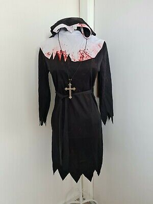 £6 • Buy Womens Zombie Nun Costume Ladies Halloween Fancy Dress Outfit Size Small UK 8-10