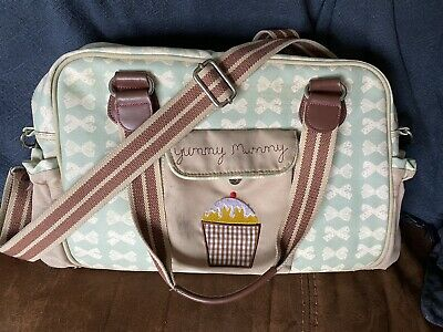 £20 • Buy Pink Lining Yummy Mummy Changing Bag - Cream Bows On Peppermint