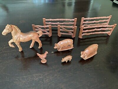 £3.61 • Buy Lot Of 10 Vintage Plastic Toy Farm Animals And Fence Pieces Horse Pigs Chicken