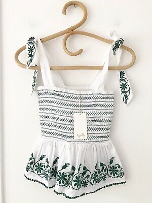 AU55 • Buy TIGERLILY Size 6 White/Green Embroidered   Villaya Linen Top  BNWT RRP $129