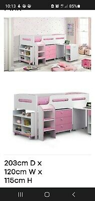 £50 • Buy Julian Bowen Cabin Bed White And Pink Middle Sleep
