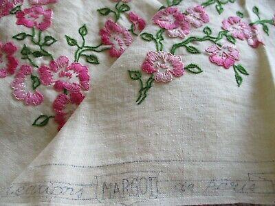£10.50 • Buy Vintage Hand Embroidered French Linen Tablecloth-PRETTY CHERRY BLOSSOM