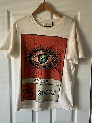 AU534.10 • Buy Auth Gucci Mens/Womens Amour Eye Made In Italy Tee Shirt (S)100% Very Soft Cotto