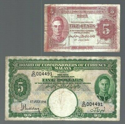 £174.93 • Buy Malaya ✨ 1941 Board Of Commissioners Of Currency ✨ 5 Cents & $1 ✨ #1617