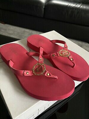 £5 • Buy Ladies Brand New Pink Guess Flip Flop Sandals Size 3