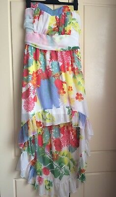 £12.93 • Buy * Summer DRESS Floral High Low Chiffon BOHO PINKS Large 12 / 14 Elasticated T131