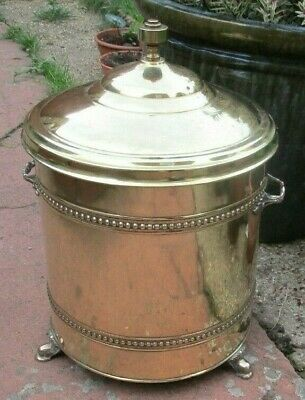 £35 • Buy Vintage Brass Coal Bucket With Lid And Liner