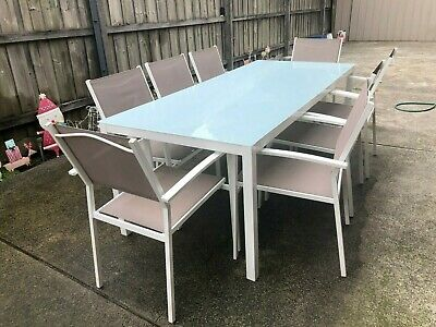 AU395 • Buy Outdoor Setting - Blue Glass Top Table & 8 Chairs - 2 M Long X 90 Cm W & 72 Cm H