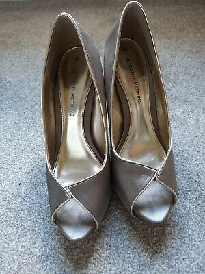 £3 • Buy Taupe Peep Toesatin Platform Shoes Size 3 From Dorothy Perkins
