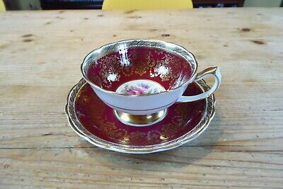 £9 • Buy 1937-1952 Paragon Bone China Cabinet Cup & Saucer Red/Gilt/Floral