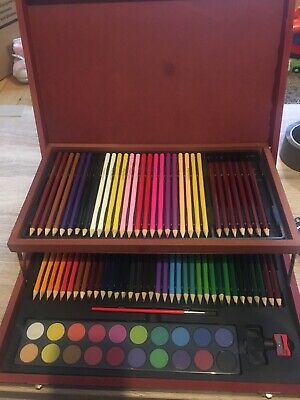 £10 • Buy Set Of Coloured Pencils And Watercolour Paints In A Beautiful Storage Box