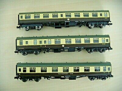 £60 • Buy N Gauge Lot Of 3 BR WR Brown & Cream Mk1 Coaches Boxed Farish Blue Riband