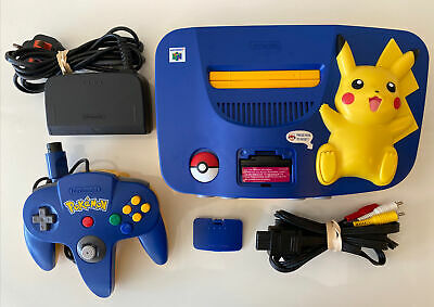 AU367.87 • Buy Nintendo 64 N64 Pikachu Pokemon Blue & Yellow Console PAL CLEANED AND TESTED VGC