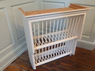 £40 • Buy Vintage Retro Wooden Pine Wall Mounted Hanging Plate Rack W 68 X D 32 X H 75 Cm