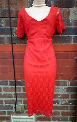 AU36.76 • Buy Red Lace Maternity Dress Asos 18 Party Wiggle Pencil 50s Retro Strechy