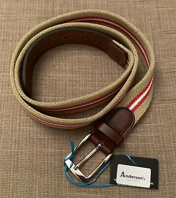 £25.50 • Buy Anderson's Men's Belt. Made In Italy. Size 110.Brown Strips. Brand New With Tags