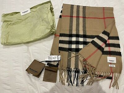 £185 • Buy Burberry Classic Check Cashmere Scarf (Archive Beige) BNWT