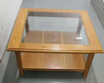 £89 • Buy Solid Oak And Glass Coffee Table By M&S Excellent Condition