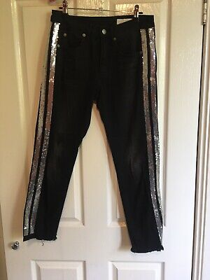 AU20.50 • Buy Sass And Bide Black Jeans With Sequin Stripe Size 26