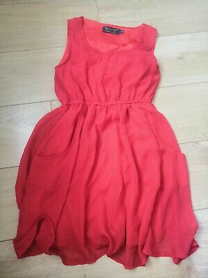 £1.10 • Buy Pussycat London Size 8 Red Dress With Pockets
