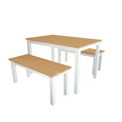 AU599 • Buy Kitchen Set Dining Tables And Chairs Set Solid Wood With 2 Benches White