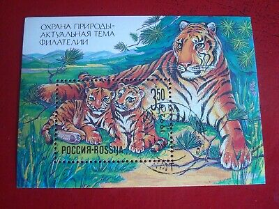 £0.59 • Buy Russia - 1992 Tiger With Cubs - Unmounted Used Souvenir Miniature Sheet