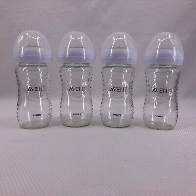 AU35.94 • Buy Philips Avent Natural 8oz Glass Baby Bottles Wide Neck Nipples & Covers Lot Of 4