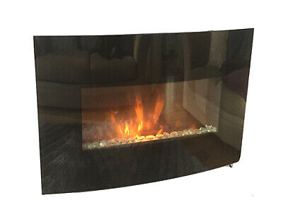 £10 • Buy Black Curved Glass Wall Fireplace