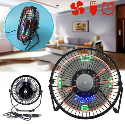 AU27.99 • Buy LED USB Clock Fan Portable Desktop Cooling Fans Home With Real Time Temperature