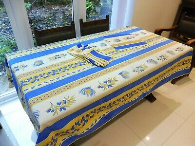 £20 • Buy LARGE PROVENCE TABLECLOTH & 8 NAPKINS: OLIVES & CICADAS: BLUE & YELLOW 244x154cm