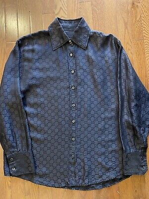 AU260.38 • Buy Authentic Gucci Shirt Black Cotton/Silk Blend Size 44 Made In Italy