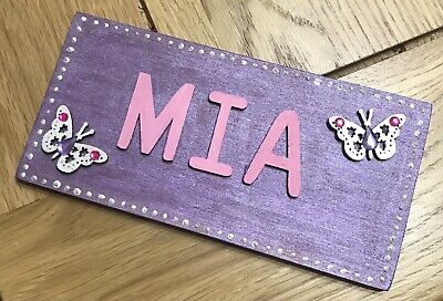 £10 • Buy Personalised Wooden Butterfly Door Sign Any Name