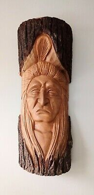 £9.99 • Buy Large Carved Wooden Sculpture Native American Indian Green Man 51cm High