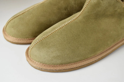 AU86.43 • Buy Men's Women's Olive Sheepskin Slippers 100% Real Fur Hand Crafted HARD SOLE