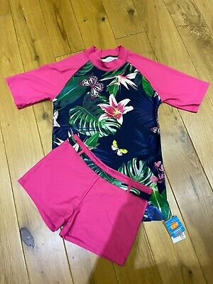£10 • Buy Next UV50 Sun Protection Top/Shorts Set Navy/Pink Butterfly/Flower Girl's Age 16