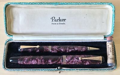 £29 • Buy BOXED PARKER Burgundy Striated TELEVISOR FOUNTAIN PEN & PROPELLING PENCIL SET