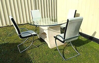 AU249 • Buy 5 PC Stone Look Dining Table Column Set Thick Bevelled Glass Top Leather Chairs