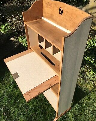 £175 • Buy Small Narrow Bureau Desk Writing Oak With Key, Covered In Laura Ashley Paper