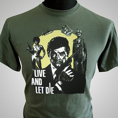 James Bond T Shirt Live And Let Die Retro Movie Classic 007 Cool 70's • 13.99£