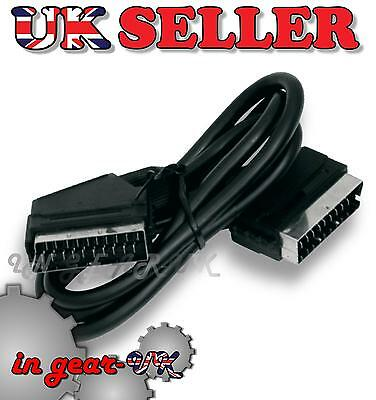 TV Television Scart Lead / Cable Adapter Plug 21 Pin Splitter Audio Visual 1m • 3.87£