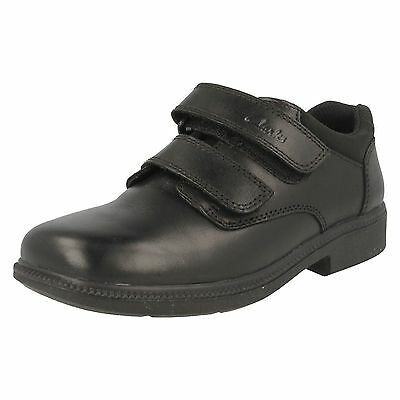 Boys Clarks Deaton Inf & Jnr Black Leather Smart Strap Shoes • 25£