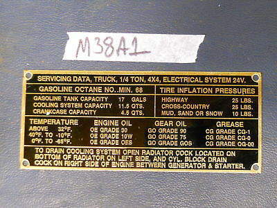 $14.50 • Buy  Data Plate Service Fits M38A1 G758 Willys Military Jeep (P63)