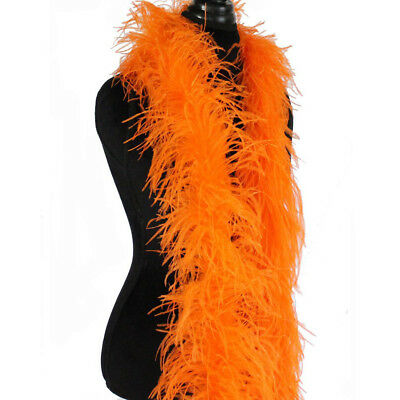 £43.42 • Buy Orange 3ply Ostrich Feather Boa Scarf Prom Halloween Costumes Dance Decor