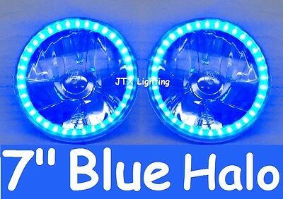 AU134.50 • Buy Ford F100 F150 F250 F350 Bronco Pick Up Blue LED Halo 7  Round Headlights