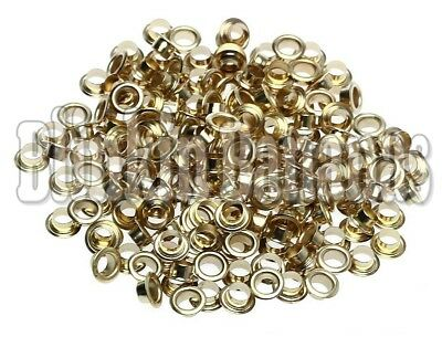 £3.59 • Buy Pack Of 400 Craft Brass Gold Spare 4mm Metal Eyelet Plier Tool Grommets Washers