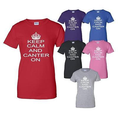 Keep Calm And Canter On Horse Riding Pony Mens Ladies T-Shirt Size S-XXL • 7.99£